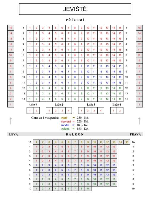 Schéma hlediště - ceny